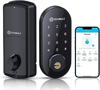 Smart Door Lock, Keyless Entry Door Lock Security Deadbolt Lock, OLUMAT Bluetooth Digital Smart Deadbolt Lock Front Door, ...