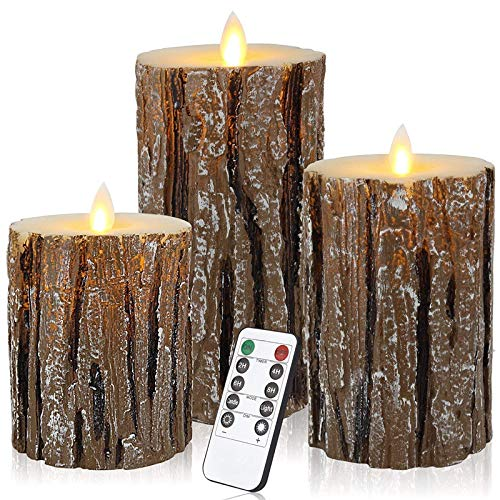 TTBD Flameless Candles Cedar-Bark Dripless Real Wax LED Pillars Include Realistic Flickering Flames and 10-Key Remote Control with 24-Hour Timer Function 400+ Hours (Cedar Bark -3 Pack)