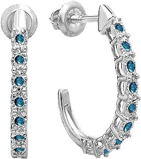 0.25 Carat (ctw) Ladies Hoop Earrings 1/4 CT, Sterling Silver