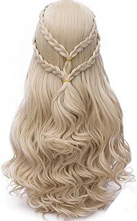 Probeauty 2019 New Long Braid Curly Women Cosplay Wigs +Wig Cap (Blonde Curly Braid B)
