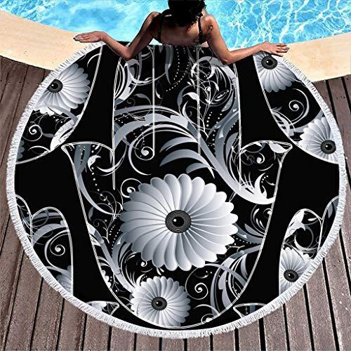 VEED Toalla de Playa Redonda Manta Flor Hamsa Mano Microfibra Toalla de baño de Lujo Ligero con Flecos Compacto para niños Piscina de natación Barco Blanco Talla única