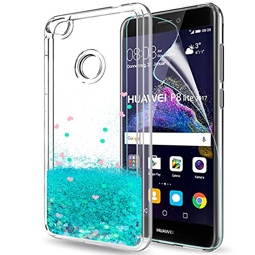 LeYi Hülle Huawei P8 Lite 2017 / Honor 8 Lite Glitzer Handyhülle mit Folie Schutzfolie,Cover TPU Bumper Silikon Flüssigkeit Schutzhülle für Hülle Huawei P8 Lite 2017 Handy Hüllen ZX Turquoise