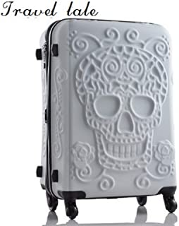 "Trolley case Personality Fashion 19/24/28 Inch Rolling Luggage Spinner Travel Suitcase 3D Skull Luggage (Color : Ivory, Size : 19"")"