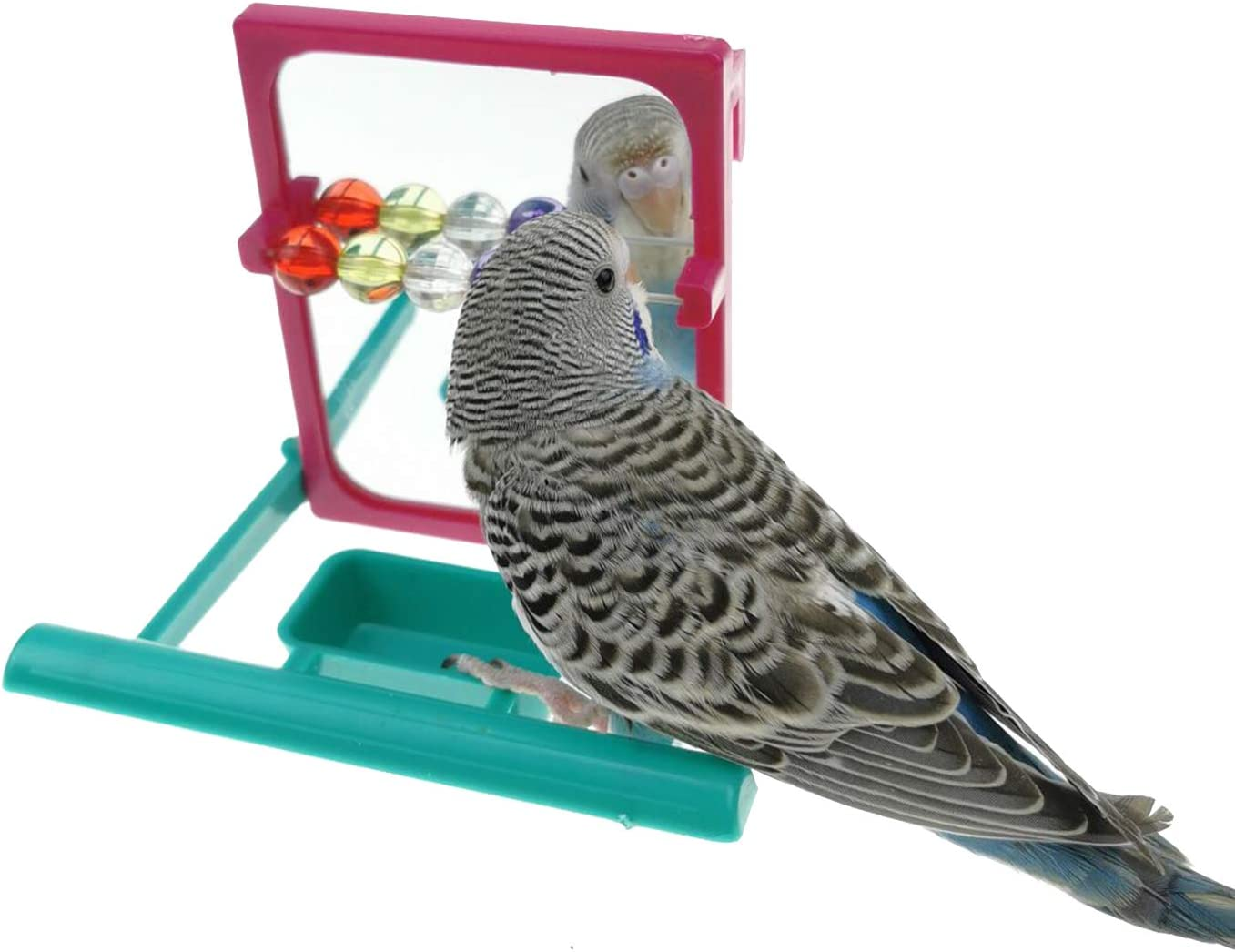 MuYaoPet Bird Parrot Mirror Beads Toy fo with Feeder Stand 100% quality warranty Same day shipping Perch