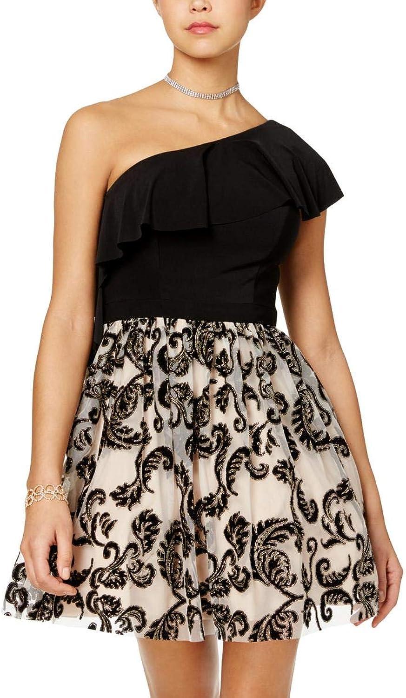 Blondie Nites Womens Juniors One Shoulder Mini SemiFormal Dress