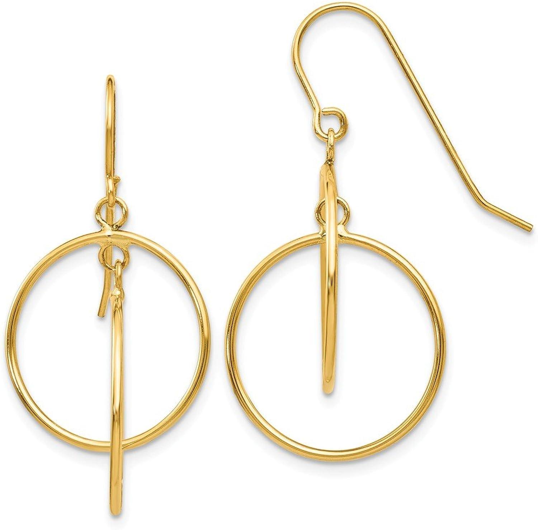 Beautiful Yellow gold 14K Yellowgold 14k Polished Circles Dangle Earrings
