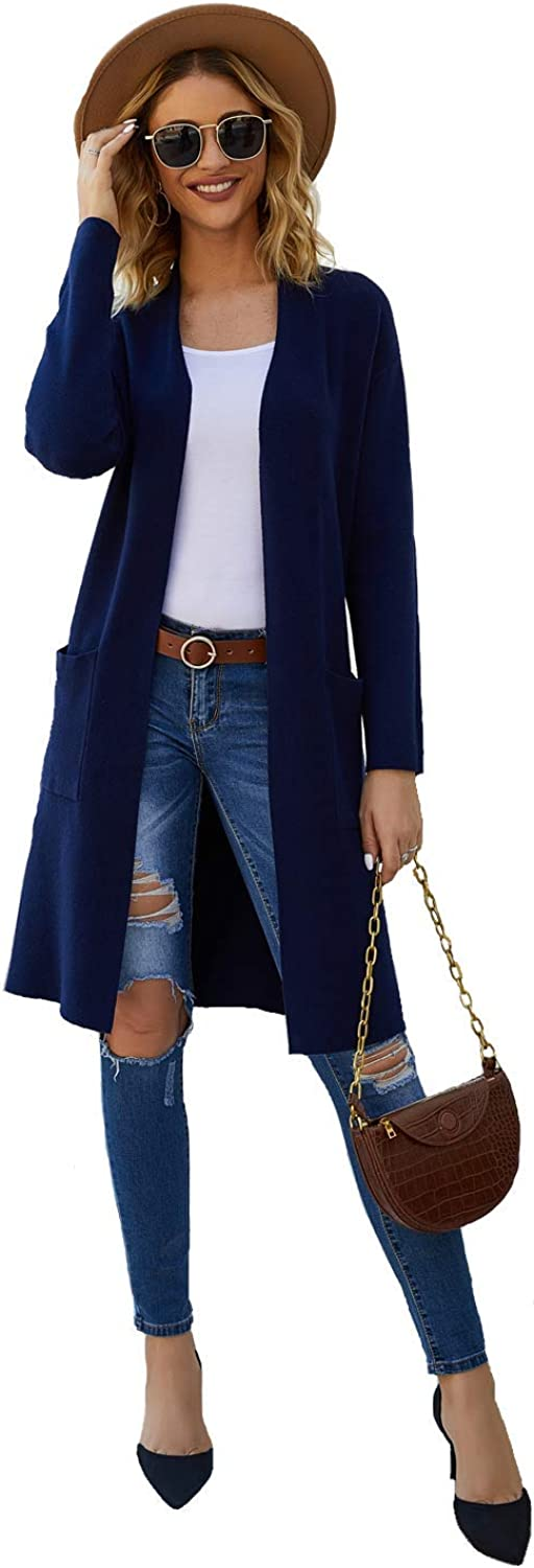 Long Sleeve Open Front Knit Sweater Cardigan for Women with Pockets