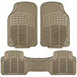 FH Group F11306BEIGE Beige-Solid Trimmable Heavy Duty All Weather Floor Mats 3pc Full Set-Tan