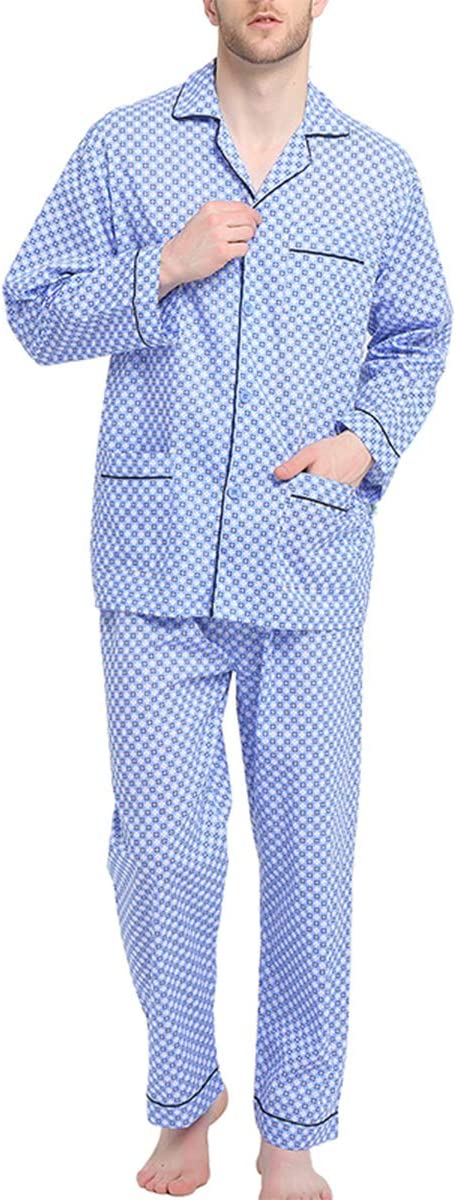1940s Men's Fashion, Clothing Styles GLOBAL Mens Pajamas Set 100% Cotton Woven Drawstring Sleepwear Set with Top and Pants/Bottoms $27.99 AT vintagedancer.com