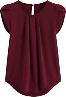 Women's Casual Round Neck Basic Pleated Top Cap Sleeve...