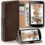 MoEx Premium Book-Hülle Handytasche kompatibel mit LG Google Nexus 4 | Handyhülle mit Kartenfach & Ständer - 360 Grad Schutz Handy Tasche, Dunkel-Braun
