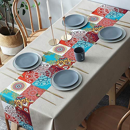 PhantasyIsland.com Mantel de Lino y algodón Resistente al Polvo con Borla para Cocina, Comedor, Granja, decoración de Mesa, 90 * 140cm