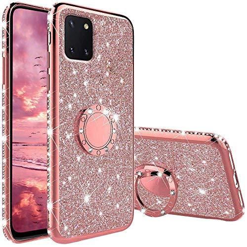 Coqin Hülle Kompatibel mit Samsung Galaxy Note 10 Lite, Glitzer Diamant Handyhülle mit Ring Ständer Schutzhülle, Superdünn Stoßfest TPU Silikon Tasche Handyhülle Schutzhülle - Rosé Gold
