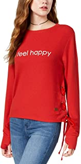Peace Love World Happy Graphic Lace-Up Sweatshirt