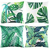 Johouse 4 PCS Tropical Leaves Pillow Covers, Cotton Linen Decorative Summer Green Leaf Throw Cushion Cover for Sofa Bed Car Couch and Summer Party Favor,18x18inch