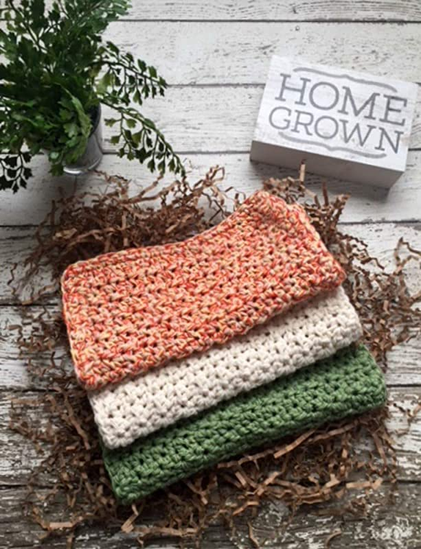 Crochet Kitchen Dish Cloths Fall Harvest Green Beige Orange Yellow Wash Cloth Crochet Cotton Dishcloths Set Of 3