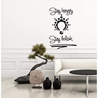YANGSHUANG Wall Sticker Stay Hungry Stay Foolish Quote Wall Decal Bulb Vinyl Removable Sticker Home Decor Sofa Background Decor Mural 42x62cm Size can be Customized