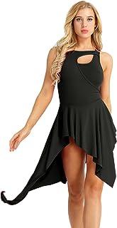 YOOJIA Justaucorps Femme Robe de Patinage /à Paillettes Asym/étrique Robe de Danse Latine Jazz Tango Salsa Ballet Robe de Gymnastique sans Manche