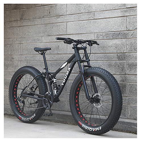 NENGGE 26 Inch Mountain Bikes, Adult Boys Girls Fat Tire Mountain Trail Bike, Dual Disc Brake Bicycle, High-carbon Steel Frame, Anti-Slip Bikes,Black,27 Speed