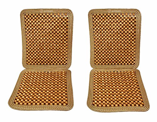 Zone Tech Set of 2 Premium Quality Double Strung Natural Wooden Beaded Ultra Comfort Massaging Full Car Seat Cushion