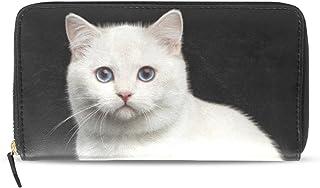 旅立の店 長財布 人気 レディース メンズ 大容量多機能 二つ折り ラウンドファスナー PUレザー  白い猫柄 黒い背景 ウォレット
