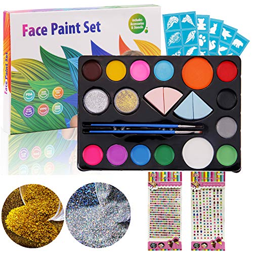 Winthai Body Face Painting Paint Kit enthält 14 Farben 2 Glitzer 2 Pinsel 4 Schwamm 2 Blatt Acryl Aufkleber für Ostern Cosplay Party Make-up