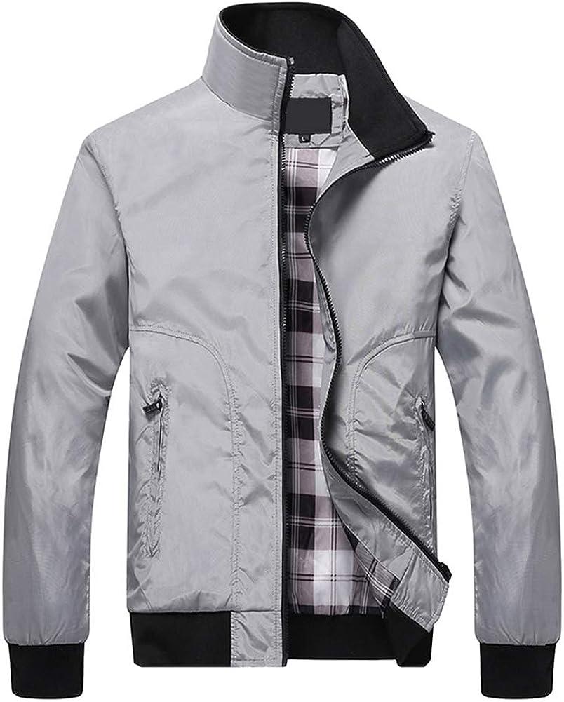 Mens Contrast Color Bomber Jacket Full Zip Up Stand Collar Varsity Jacket Coat