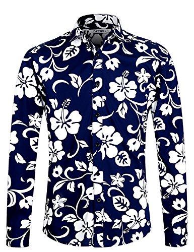 APTRO Fashion Herren Freizeit Baumwolle Mehrfarbig Blumen Langarm Shirt #1015 L