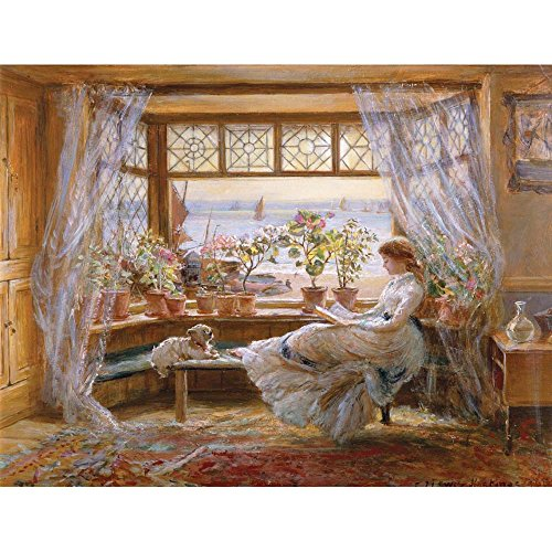 Reading by a Window, Charles James Lewis - Medici Drucken