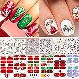 Adurself 12 Sheets Christmas Nail Stickers,...