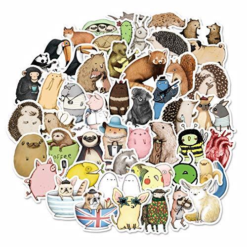 JZLMF 73 adesivi con animali personalità, marca trolley, valigetta, adesivi per bagagli cartoni animati, a mano, account Notebook