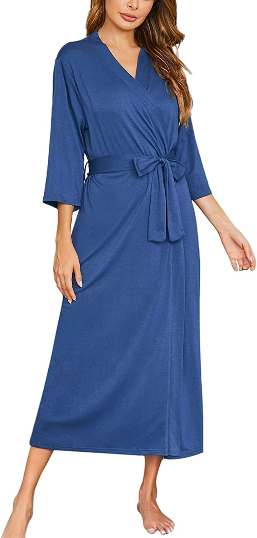 Ekouaer Womens Robes, Lightweight Cotton Robe Soft Sleepwear Ladies Loungewear Dressing Gown Long Bathrobe
