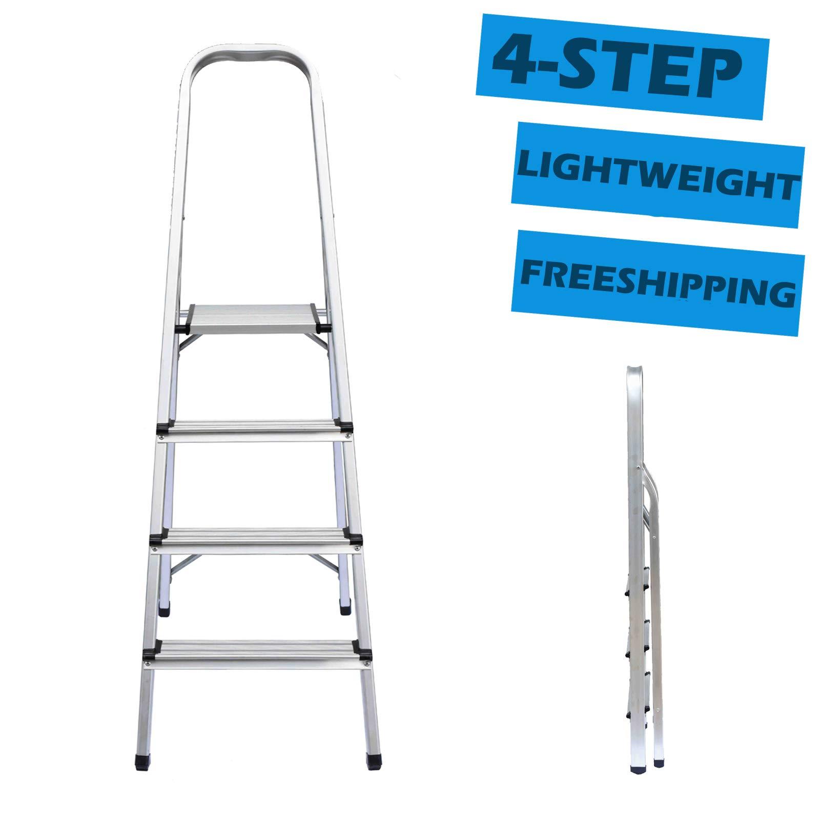 Escalera plegable de 4 peldaños de aluminio ligero, portátil, multifunción, capacidad de carga de 150 kg, altura de plataforma superior de 2,5 pies: Amazon.es: Bricolaje y herramientas