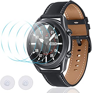 Screen Protection Film for Samsung Galaxy Watch 3 45mm Watch, AFUNTA 4 Pcs Tempered Glass Film Watch Cover No Bubbles Scra...