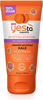 Yes To Carrots NEW Nutrition Boosting 100% Vegan Vitamin-Enriched Kale Mud Mask - 2 Fluid Ounces | For Depleted Skin | Carrots and Kale For Glowing and Healthier-Looking Skin