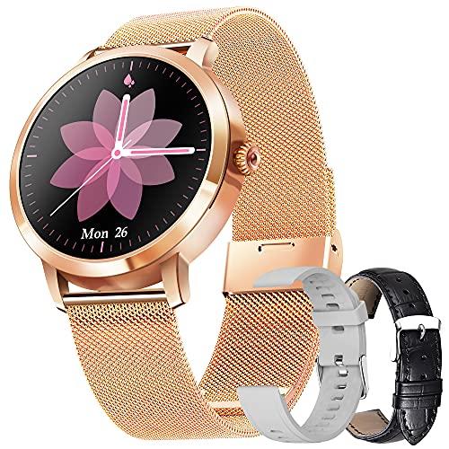 Smartwatch Mujer, Reloj Inteligente IP68 con Pulsómetro, Monitor de Sueño, 9 Modos de Deportes, Seguimiento del Menstrual, Notificaciones Inteligentes, Reloj Mujer para Android iOS (Oro)
