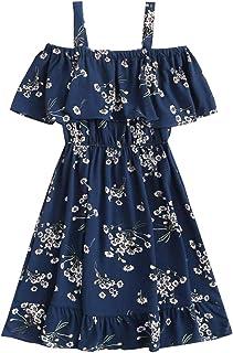 K Y Fashion Girls Designer Floral Print Knee Length Dress