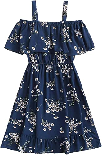 K Y Fashion Girls Designer Floral Print Knee Length Dress