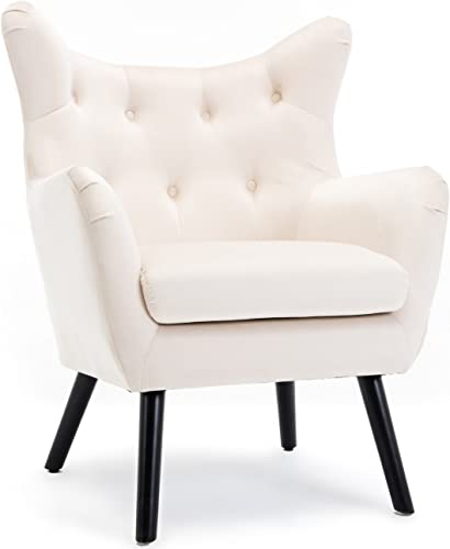 popular BELLEZE Wing Back Mid sale Century Button Tufted Chair Wood Legs Polyester Fabric Foam Padded Living Room Arm Curved, lowest Cream sale