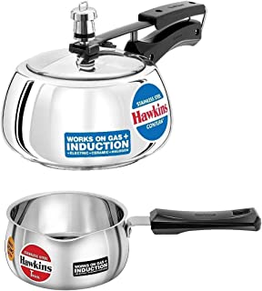 Hawkins Stainless Steel Contura Pressure Cooker, 1.5 L and Tpan/Sauce Pan 1 L (Silver) Set of 2