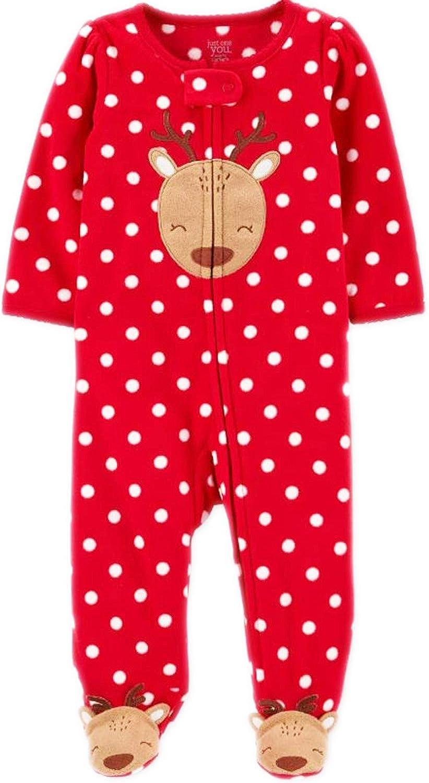 Carter's Baby Girls Reindeer Fleece Footed Pajamas Sleep and Play!