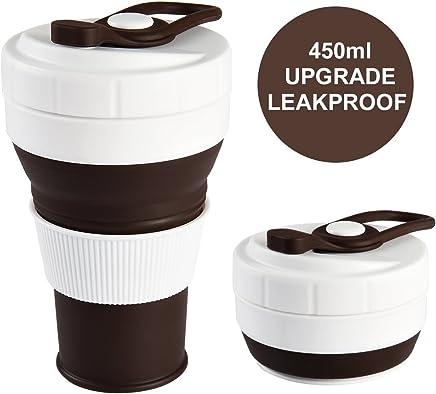 Preisvergleich für Uarter Silikon Kaffeetasse Zusammenklappbare Tassen Reisebecher mit Griff, ideal für drinnen und draußen, 450ml, Kaffee