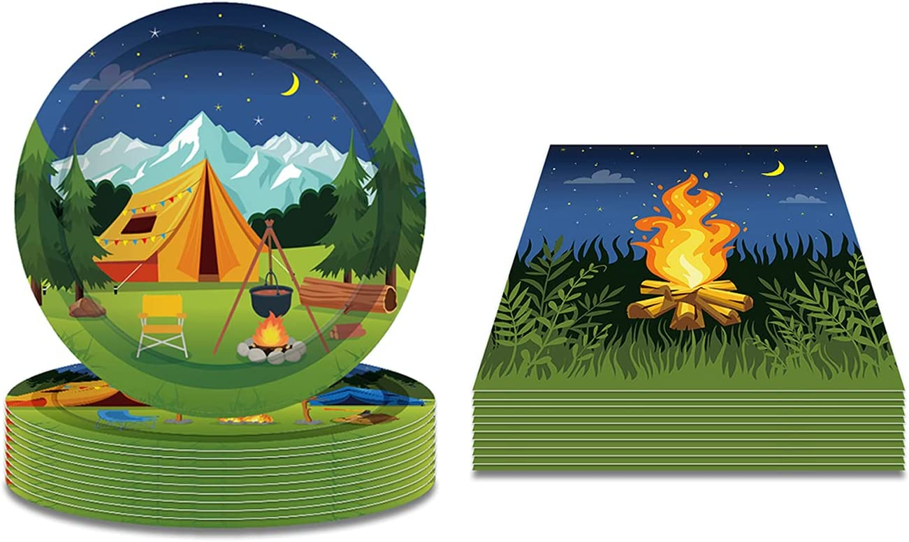 Max 74% Limited price OFF Camping Theme Plates and Napkins Adventure -Camping 16 Pa Serves
