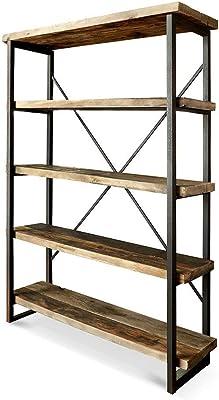 Meubletmoi Regal mit 4 Fächern, Holz und Metall, Industrie-Stil