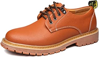 CHENDX Shoes, Men's Casual Lace Up Soft Outsole Flats PU Leather Work Shoes (Color : Orange, Size : 7.5 UK)