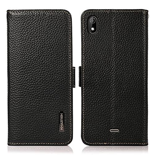 Cas compatible avec Wiko Y61, Portefeuille de portefeuille en cuir véritable de qualité supérieure [Slot de porte-carte et kickstand] [RFID Blocage] Couvercle de protection du folio magnétique magnéti