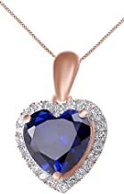 Jewel Zone US Heart Simulated Blue Sapphire & White Topaz CZ Pendant Necklace 14K Gold Over Sterling Silver