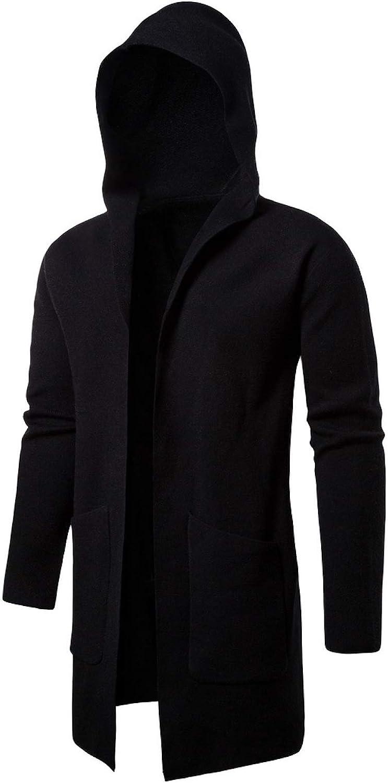 Elonglin Men's Long Cardigan Hooded Open Edge Outwear Knit Sweater Trench Coat Long Sleeve Knitted Jacket Coat