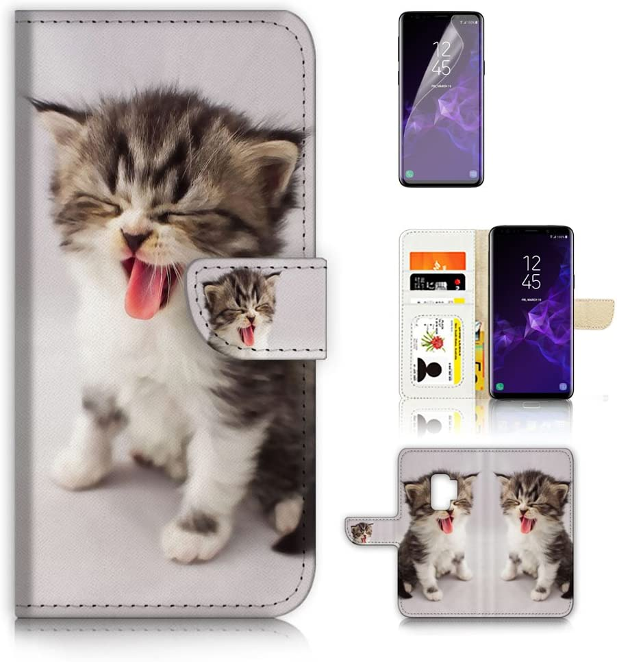 ( For Samsung Galaxy S9 ) Flip Wallet Case Cover & Screen Protector Bundle - A20253 Cute Pussy Cat Kitten