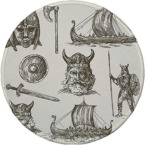 Tapis de Souris Rond en Caoutchouc, Viking, Figurines de Guerre Antique épée Bouclier et Masque de Guerriers Dragon tête Navire médiéval, Brun foncé Blanc